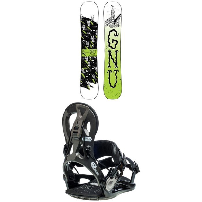 GNU - Money C2E Snowboard + GNU Cheeter Snowboard Bindings 2020