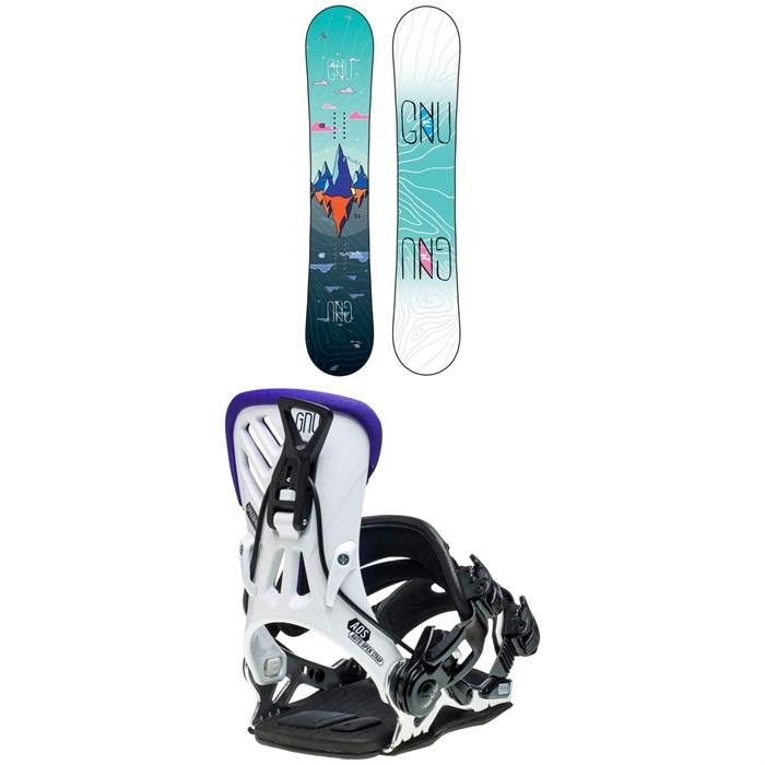 GNU - Asym Velvet C2 Snowboard - Women's + GNU B-Free Snowboard Bindings - Women's 2020