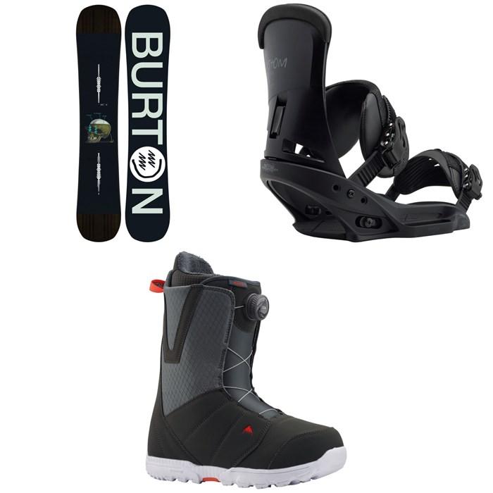 Burton - Instigator Snowboard + Burton Custom EST Snowboard Bindings + Burton Moto Boa Snowboard Boots 2020