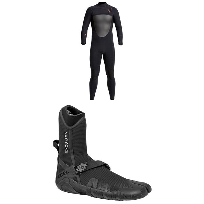 XCEL - 4/3 Drylock Wetsuit + XCEL 3mm Drylock Split Toe Wetsuit Boots