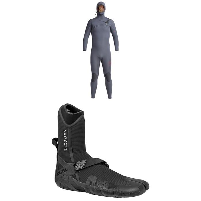 XCEL - 4.5/3.5 Comp X Hooded Wetsuit + XCEL 3mm Drylock Split Toe Wetsuit Boots
