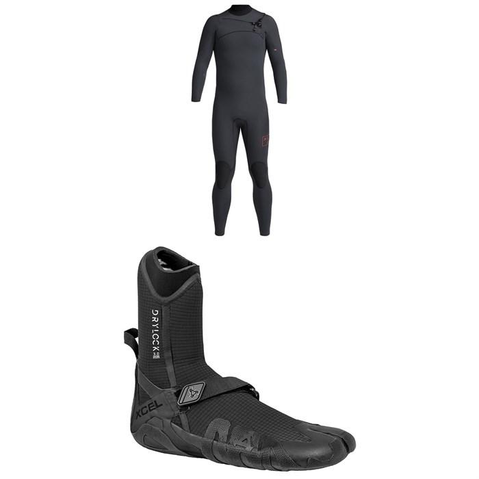 XCEL - 4/3 Comp X Wetsuit + XCEL 3mm Drylock Split Toe Wetsuit Boots