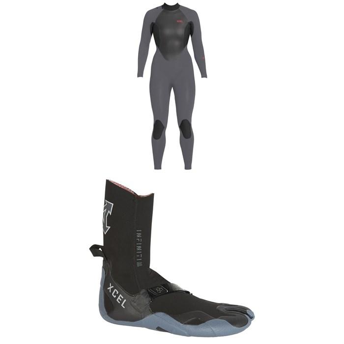 XCEL - 4/3 Axis X Back Zip Wetsuit - Women's + XCEL 3mm Infiniti Split Toe Wetsuit Boots