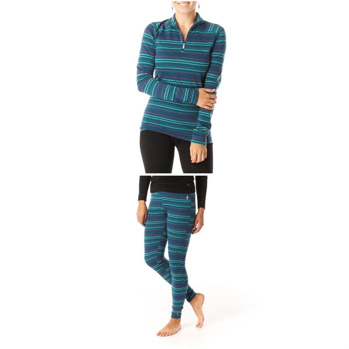 Smartwool - Merino 250 Baselayer Pattern 1/4 Zip Top - Women's + Smartwool Merino 250 Baselayer Pattern Bottoms - Women's
