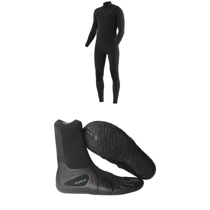 Vissla - 7 Seas 4/3 Chest Zip Wetsuit + Vissla 7 Seas 3mm Split Toe Wetsuit Boots
