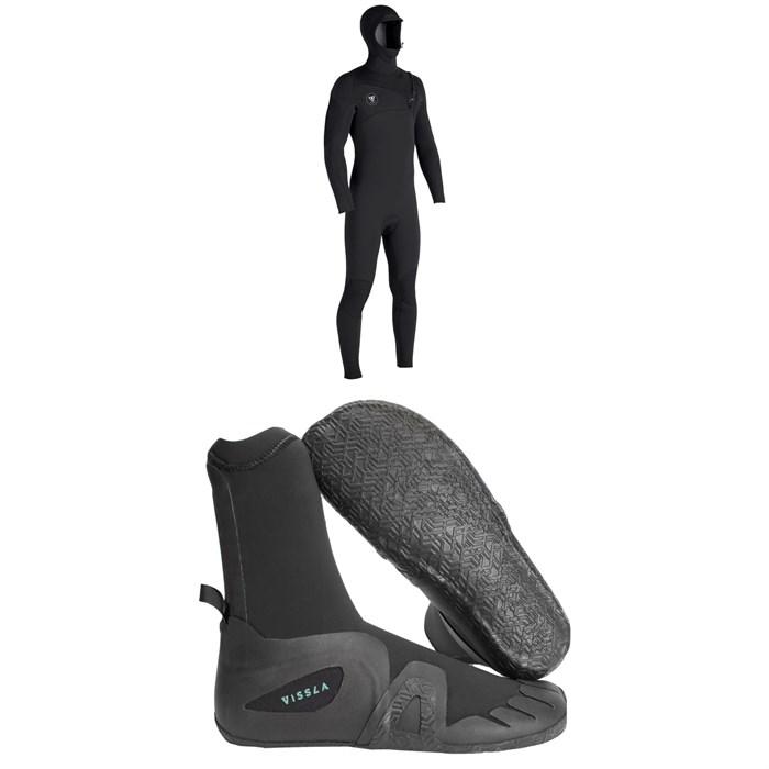 Vissla - 7 Seas 4/3 Hooded Chest Zip Wetsuit + Vissla 7 Seas 5mm Round Toe Wetsuit Boots
