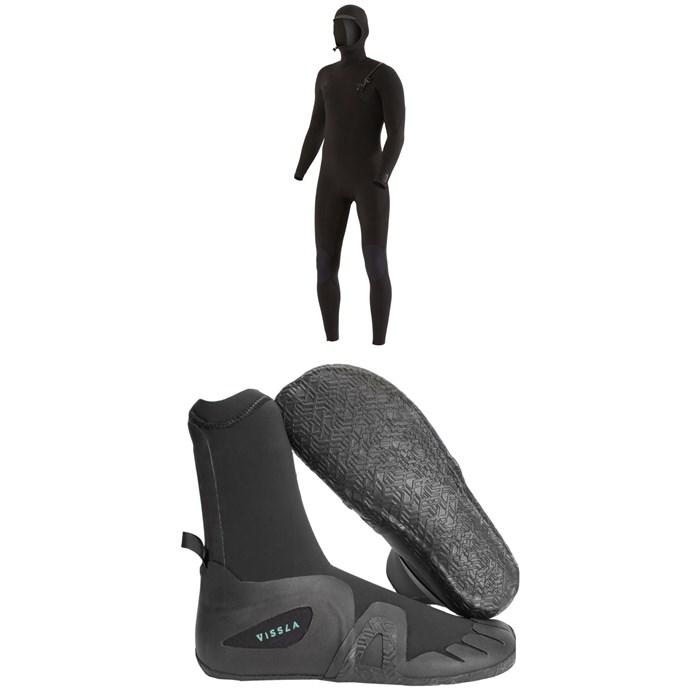 Vissla - 7 Seas 4/3 Chest Zip Hooded Wetsuit + Vissla 7 Seas 5mm Round Toe Wetsuit Boots