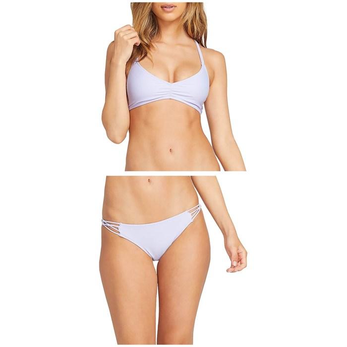 Volcom - Simply Solid V-Neck Bikini Top & Simply Solid Full Bikini Bottoms - Women's