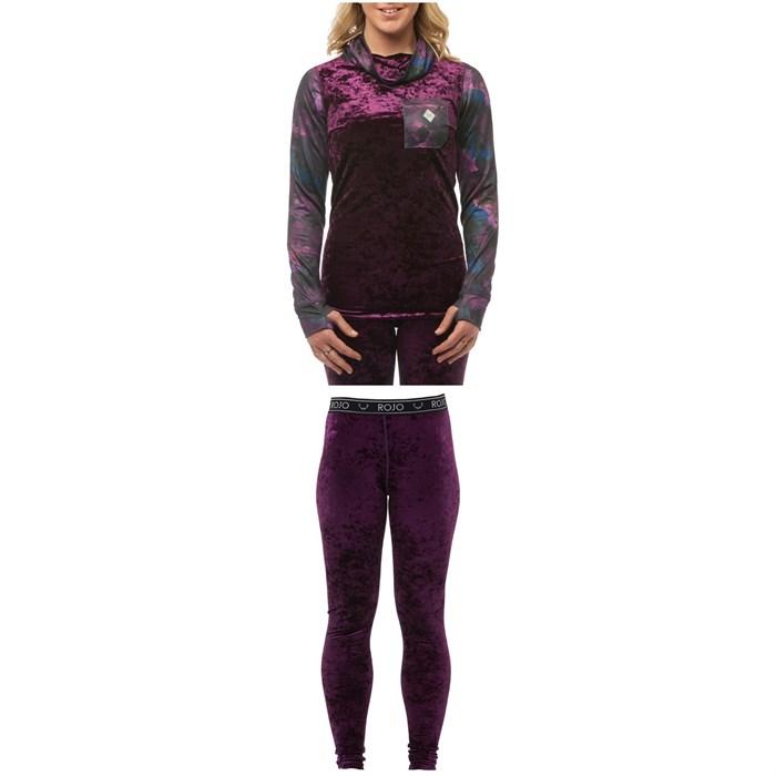 Rojo Outerwear - Velvet Funnel Zip Base Layer Top + Full Length Velvet Pants - Women's