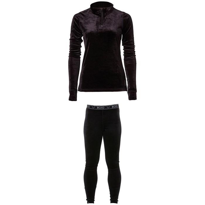 Rojo Outerwear - Velvet 1/4 Zip Base Layer Top + Full Length Velvet Pants - Women's