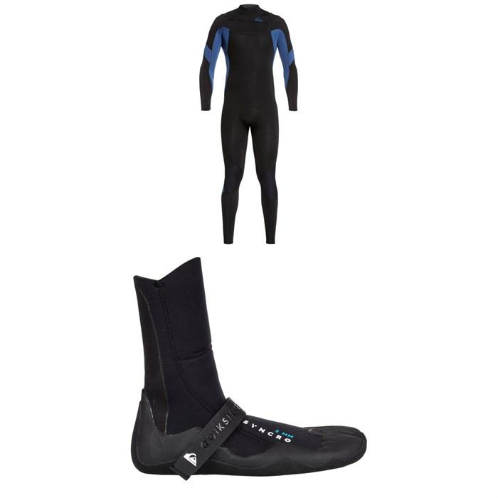 Quiksilver - 4/3 Syncro Chest Zip GBS Wetsuit + Quiksilver Syncro 3mm Split Toe Wetsuit Boots