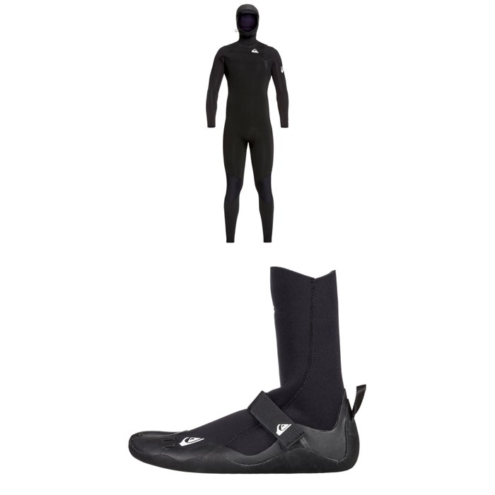 Quiksilver - 5/4/3 Syncro Chest Zip GBS Hooded Wetsuit + Quiksilver 5mm Syncro Round Toe Wetsuit Boots