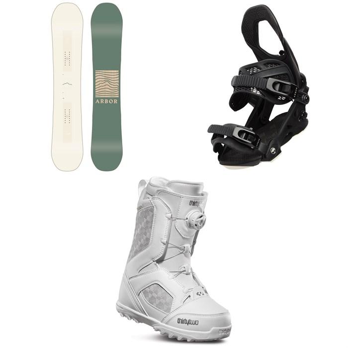 Arbor - Poparazzi Camber Snowboard + Arbor Sequoia Snowboard Bindings + thirtytwo STW Boa Snowboard Boots - Women's 2020