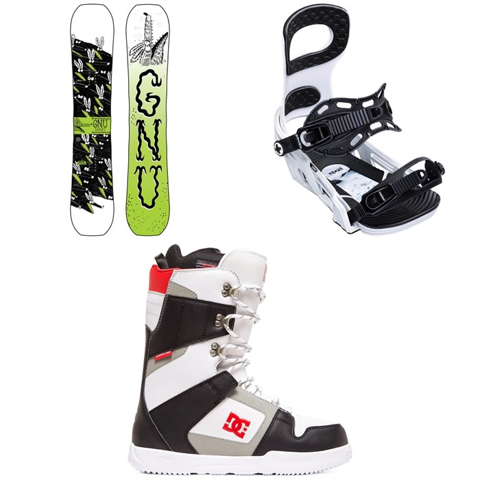 GNU - Money C2E Snowboard + Bent Metal Joint Snowboard Bindings + DC Phase Snowboard Boots 2020