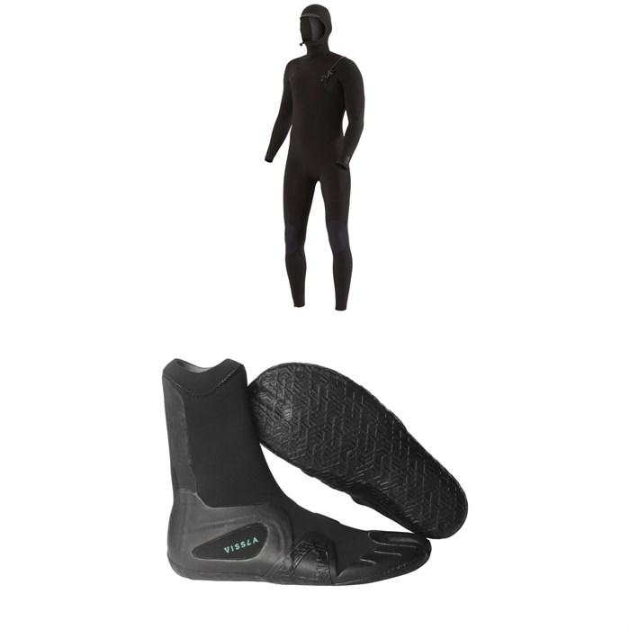 Vissla - 7 Seas 4/3 Chest Zip Hooded Wetsuit + Vissla 7 Seas 3mm Split Toe Wetsuit Boots