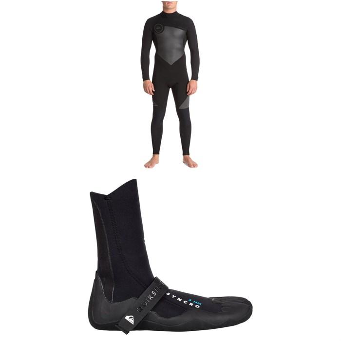 Quiksilver - 4/3 Syncro Back Zip GBS Wetsuit + Quiksilver 3mm Syncro Split Toe Wetsuit Booties
