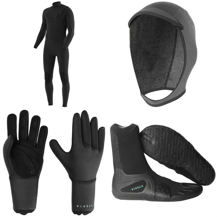 Vissla - 7 Seas 4/3 Chest Zip Wetsuit + 7 Seas 3mm Wetsuit Hood + 7 Seas 3mm Wetsuit Gloves + 7 Seas 3mm Split Toe Wetsuit Boots