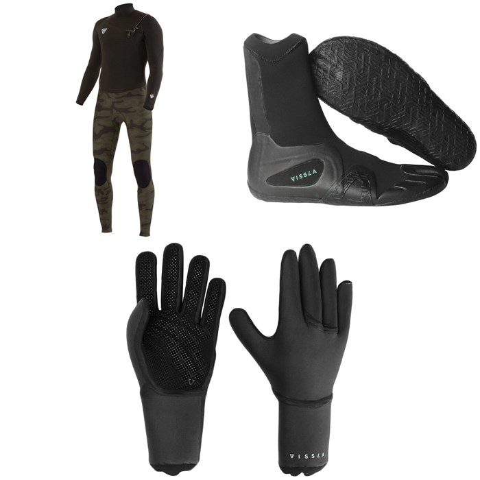 Vissla - 7 Seas 4/3 50/50 Wetsuit + 7 Seas 3mm Split Toe Wetsuit Boots + 7 Seas 3mm Wetsuit Gloves