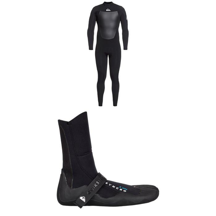 Quiksilver - 4/3 Syncro Back Zip GBS Wetsuit + Quiksilver Syncro 3mm Split Toe Wetsuit Boots