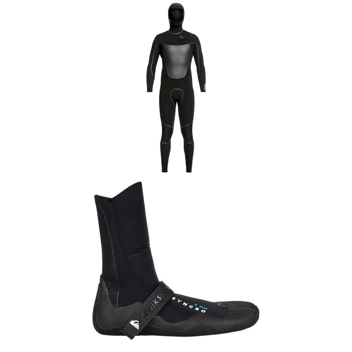 Quiksilver - 4/3 Syncro+ Chest Zip LFS Hooded Wetsuit + Quiksilver Syncro 3mm Split Toe Wetsuit Boots