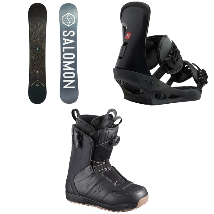Salomon - Sight X Snowboard 2020 + Burton Freestyle Snowboard Bindings 2019 + Salomon Launch Boa SJ Snowboard Boots 2019