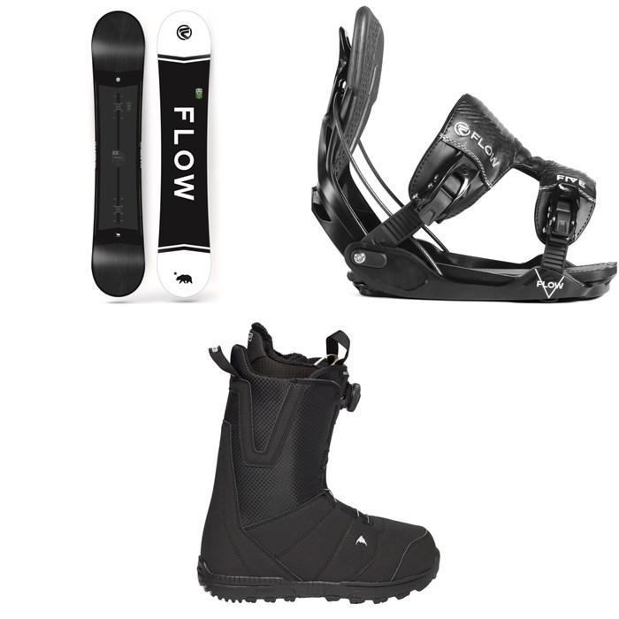 Flow - Merc Snowboard 2018 + Five Fusion Snowboard Bindings 2019 + Burton Moto Boa R Snowboard Boots 2018