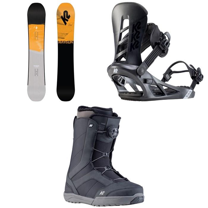 K2 - Raygun Pop Snowboard + Sonic Snowboard Bindings + Raider Snowboard Boots 2020