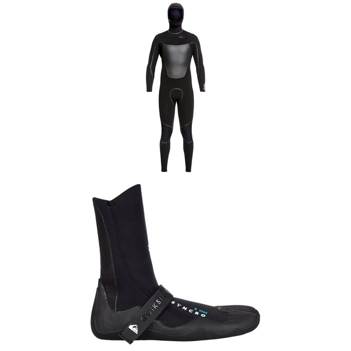 Quiksilver - Syncro+ 4/3 Chest Zip Hooded Wetsuit + Syncro 3mm Split Toe Wetsuit Booties
