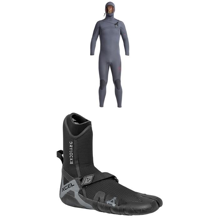 XCEL - 4.5/3.5 Comp X Hooded Wetsuit + Drylock Split Toe 5mm Wetsuit Boots