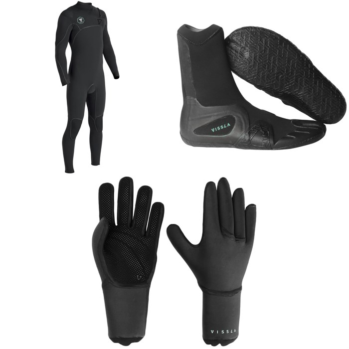 Vissla - 7 Seas Power Seam 3/2 Chest Zip Wetsuit + 7 Seas 3mm Split Toe Wetsuit Boots + 7 Seas 3mm Wetsuit Gloves