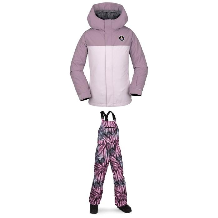 Volcom - Sass'N'Fras Insulated Jacket - Girls' + Volcom Barkley Bib Overalls - Kids'