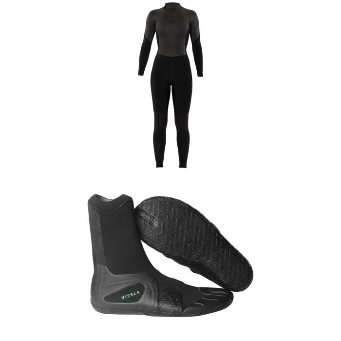 Sisstrevolution - 4/3 7 Seas Back Zip Wetsuit - Women's + Vissla 7 3mm Seas Split Toe Wetsuit Boots