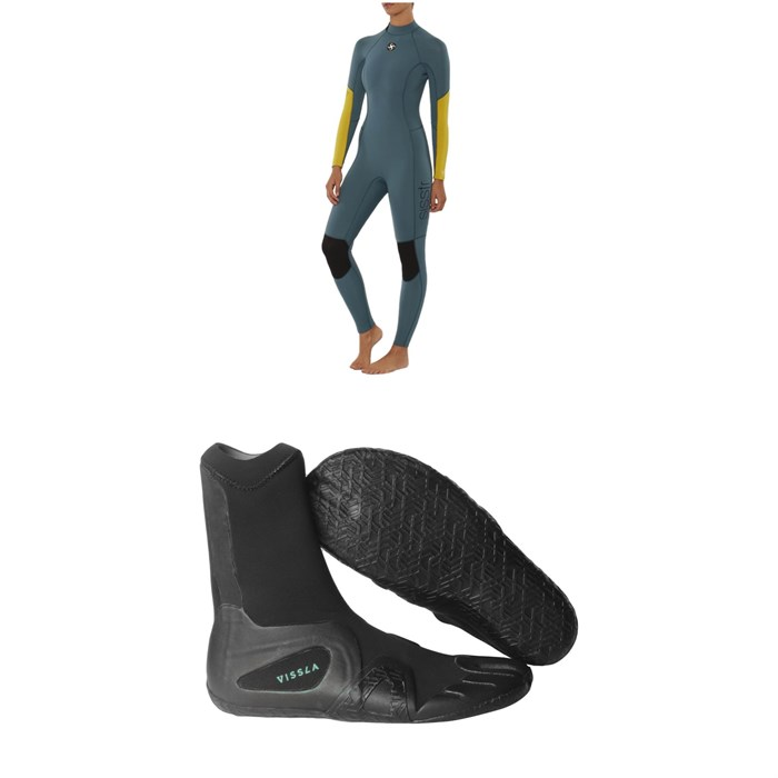 Sisstrevolution - 4/3 7 Seas Back Zip Wetsuit - Women's + Vissla 7 Seas 3mm Split Toe Wetsuit Boots