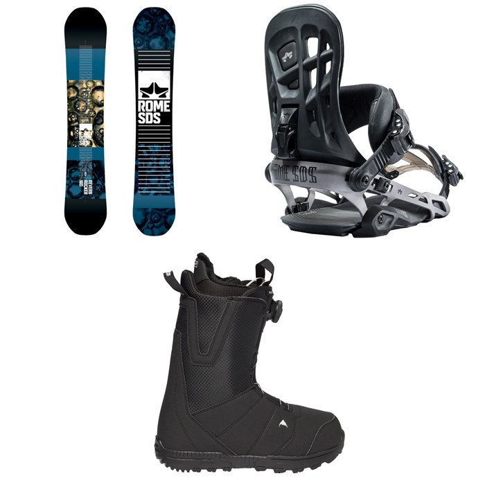 Rome - Reverb Rocker SE Snowboard 2019 + 390 Boss Snowboard Bindings 2019 + Burton Moto Boa Snowboard Boots 2018