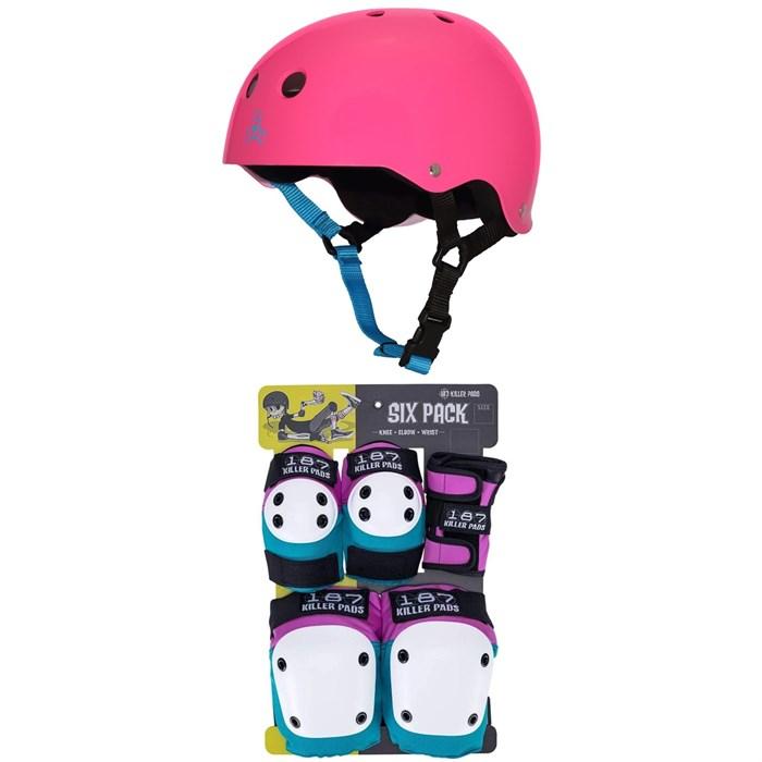 Triple 8 - Sweatsaver Liner Skateboard Helmet + 187 Junior Skateboard Pad Set - Kids'