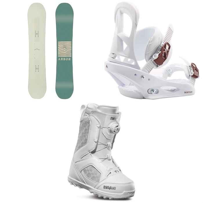 Arbor - Poparazzi Rocker Snowboard + Burton Stiletto Snowboard Bindings + thirtytwo STW Boa Snowboard Boots - Women's 2020