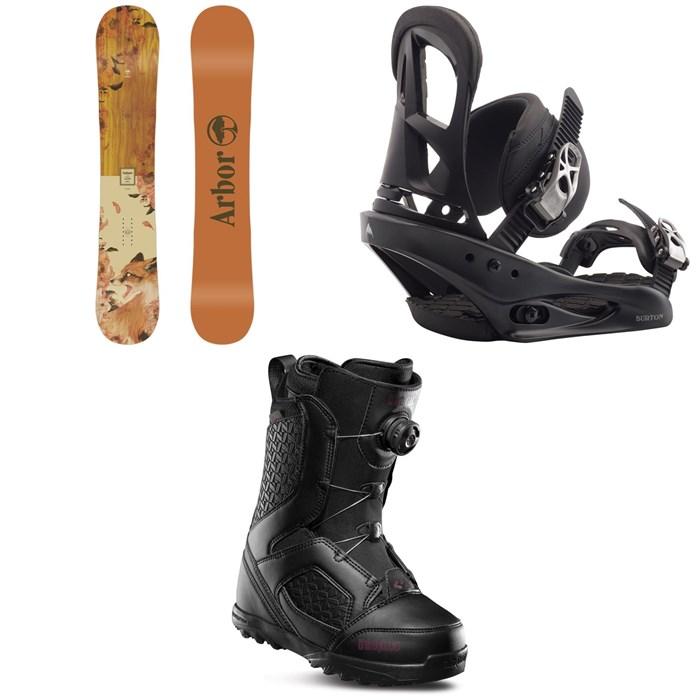 Arbor - Cadence Rocker Snowboard + Burton Stiletto Snowboard Bindings + thirtytwo STW Boa Snowboard Boots - Women's 2020