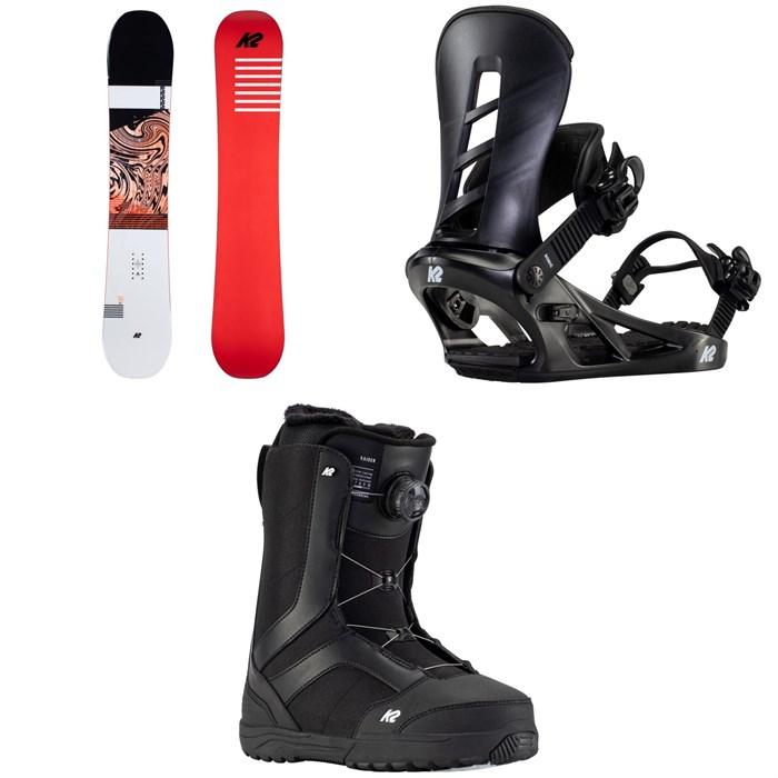 K2 - Raygun Pop Snowboard + Sonic Snowboard Bindings + Raider Snowboard Boots 2021
