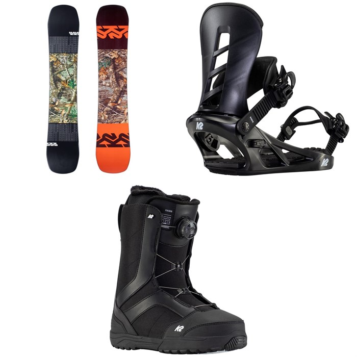 K2 - Afterblack Snowboard + Sonic Snowboard Bindings + Raider Snowboard Boots 2021