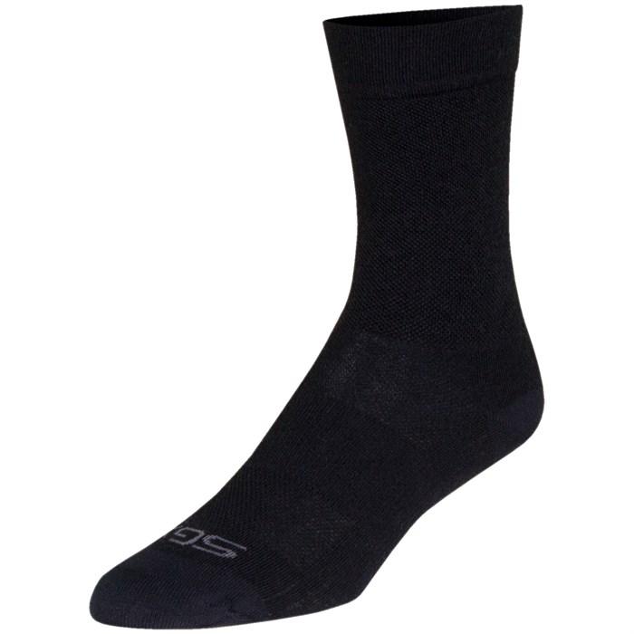 """SockGuy - SGX Wool 6"""" Black Bike Socks"""