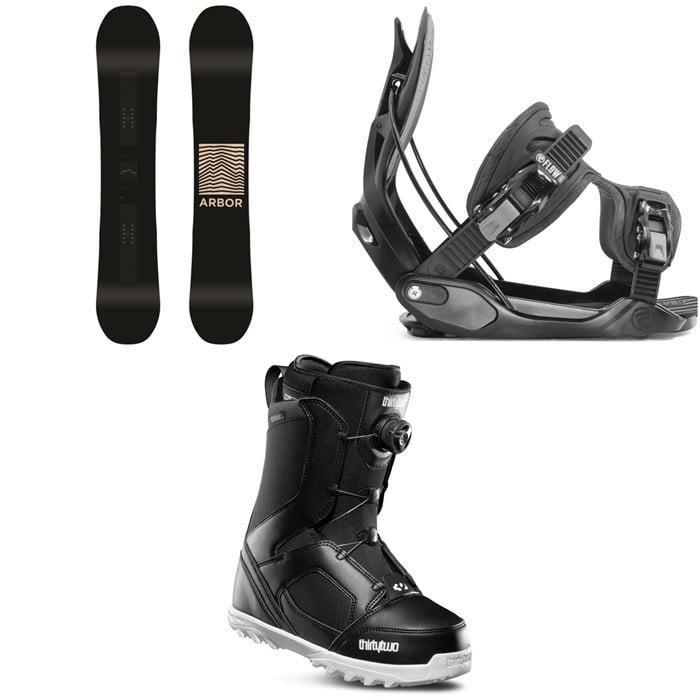 Arbor - Formula Rocker Snowboard + Flow Alpha Snowboard Bindings + thirtytwo STW Boa Snowboard Boots 2020