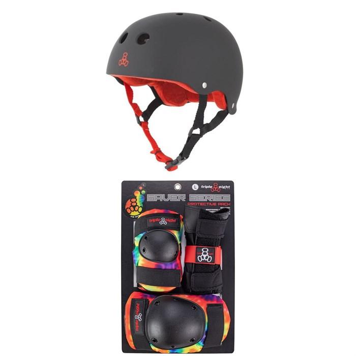 Triple 8 - Sweatsaver Liner Skateboard Helmet + Saver Series Color Collection Skateboard JR Pad Set