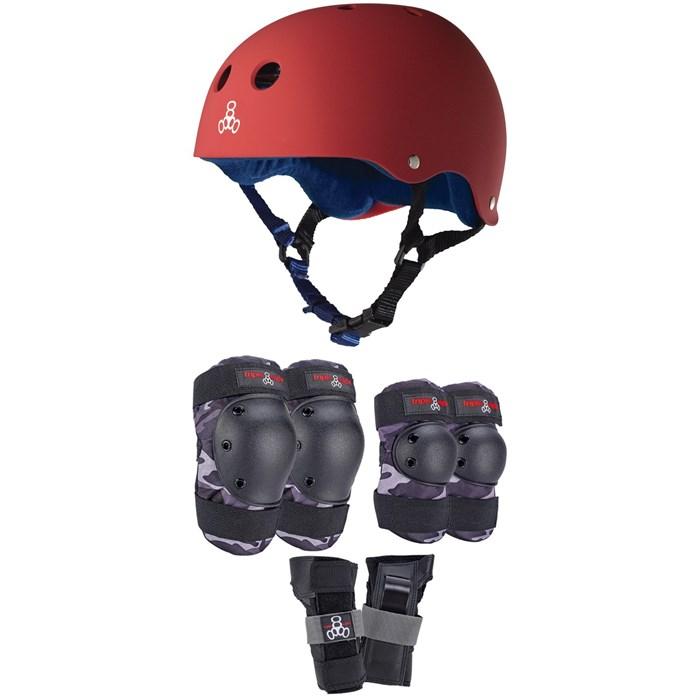 Triple 8 - Sweatsaver Liner Skateboard Helmet + Saver Series Color Collection Skateboard Pad Set