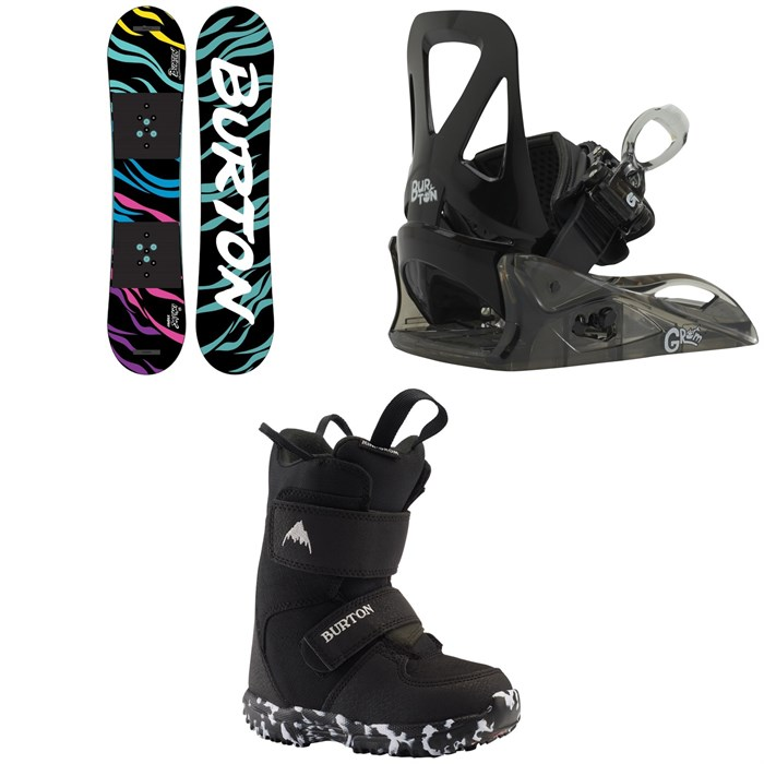 Burton - Chopper Snowboard + Grom Snowboard Bindings + Mini Grom Snowboard Boots - Little Kids' 2021