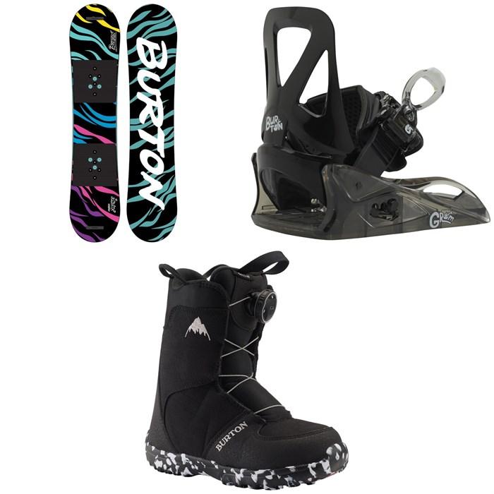 Burton - Chopper Snowboard 2021 + Grom Snowboard Bindings + Grom Boa Snowboard Boots - Little Kids' 2021