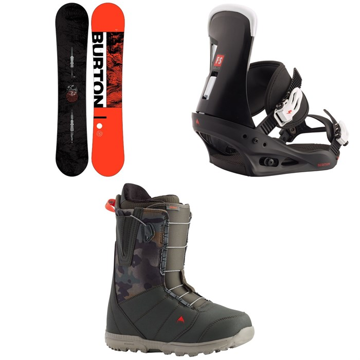 Burton - Ripcord Snowboard + Freestyle Snowboard Bindings + Burton Moto Snowboard Boots 2021