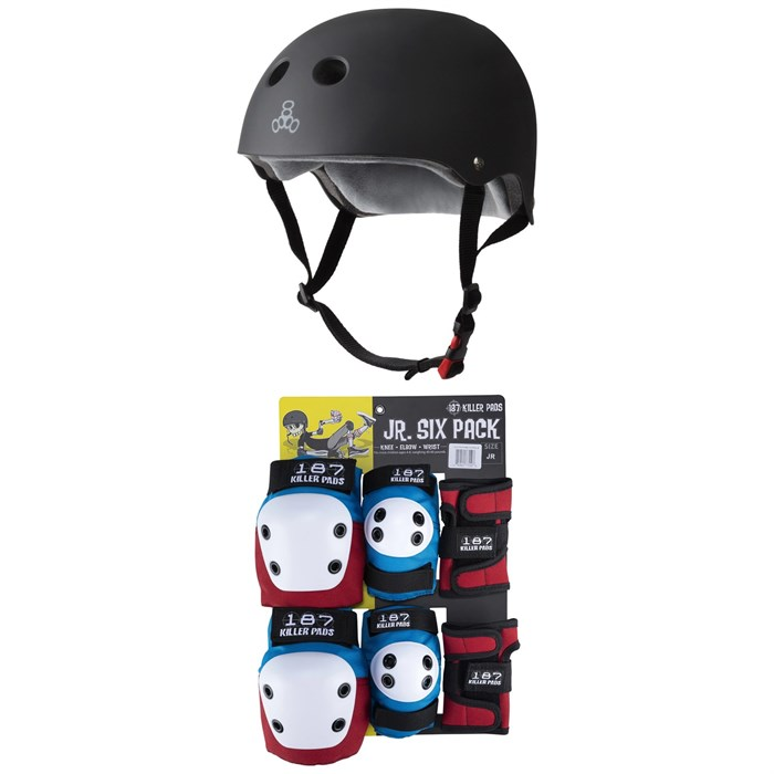 Triple 8 - The Certified Sweatsaver Skateboard Helmet + 187 Junior Six Pack Skateboard Pad Set - Little Kids'