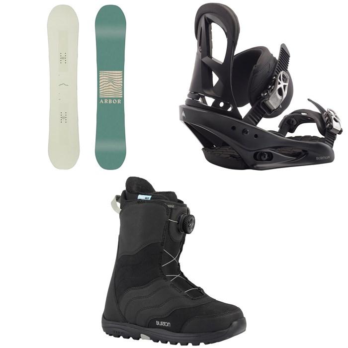 Arbor - Poparazzi Rocker Snowboard 2020 + Burton Stiletto Snowboard Bindings - 2020 + Burton Mint Boa Snowboard Boots - Women's 2018