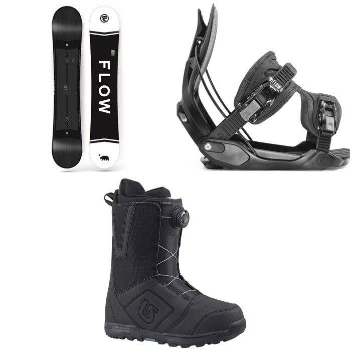 Flow - Merc Snowboard 2018 + Flow Alpha Snowboard Bindings 2020 + Burton Moto Boa Snowboard Boots 2018