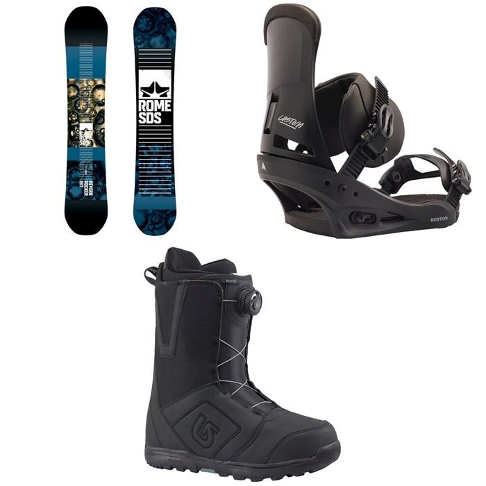 Rome - Reverb Rocker SE Snowboard 2019 + Burton Custom Snowboard Bindings 2020 + Burton Moto Boa Snowboard Boots 2018
